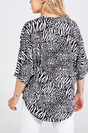 Mix Jungle Print Oversized Soft Touch Zip Front Top