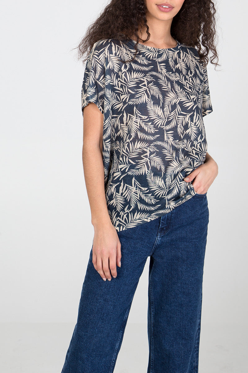Leaf Print Oversized Top