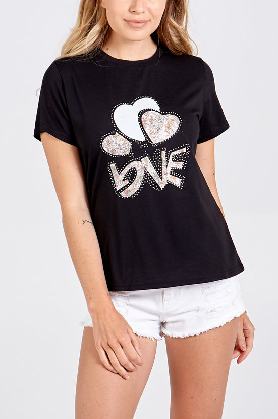 Love Embellished T-Shirt