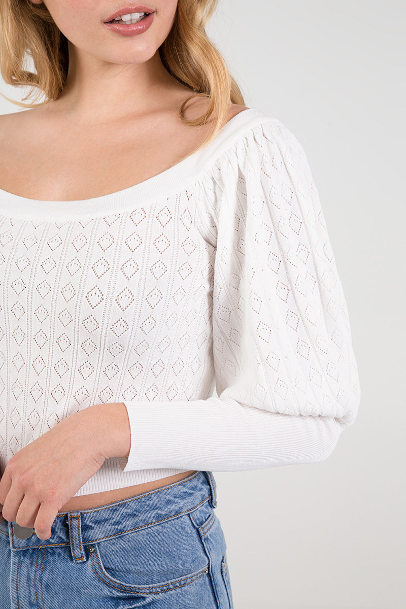 Knitted Puff Sleeve Top/Jumper