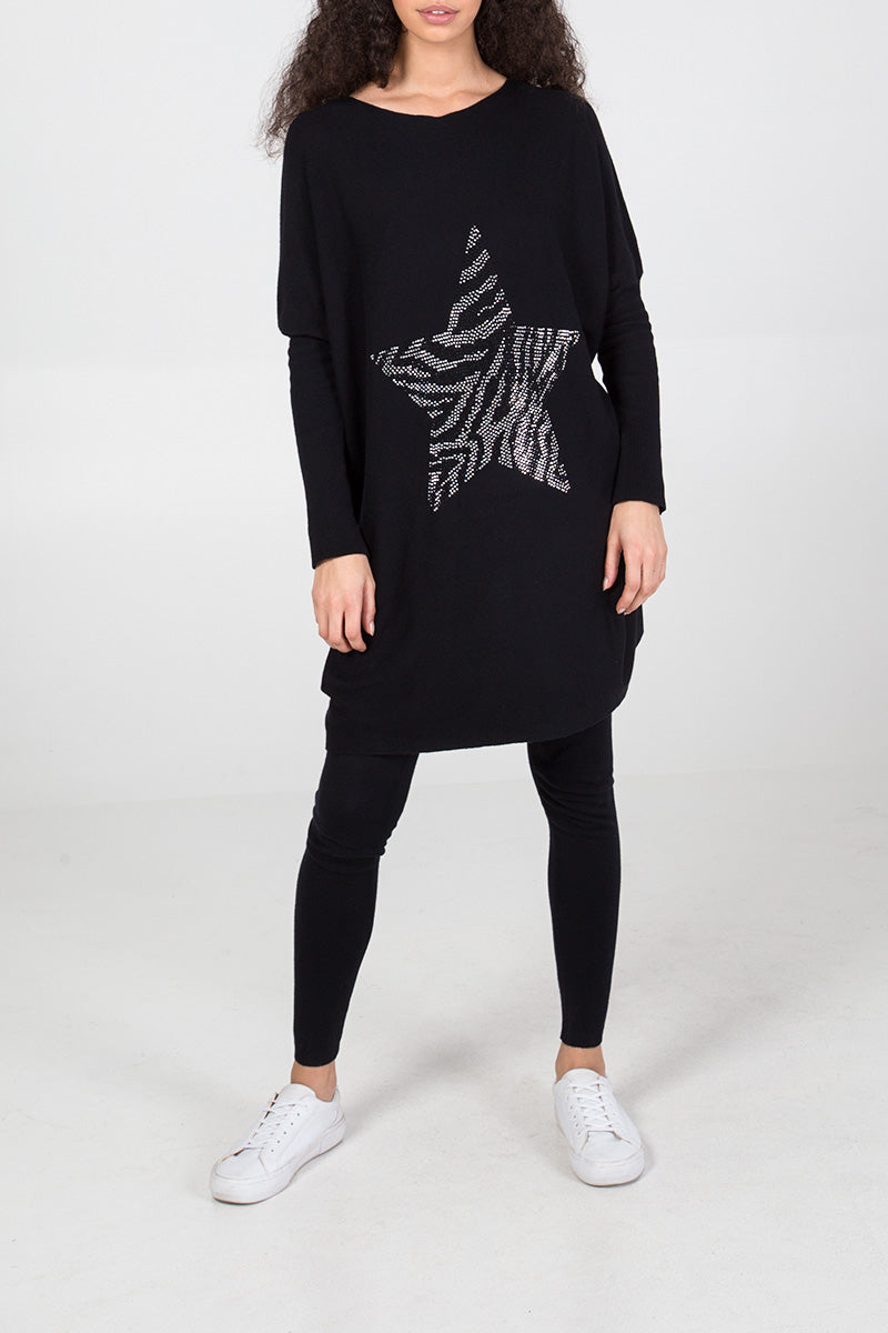 Gem Zebra Star Oversized Top & Leggings Set