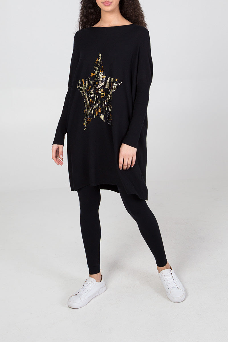 Gem Leopard Star Oversized Top & Legging Set