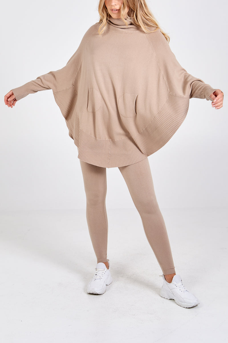 Cowl Neck Raglan Batwing Jumper & Leggings Set