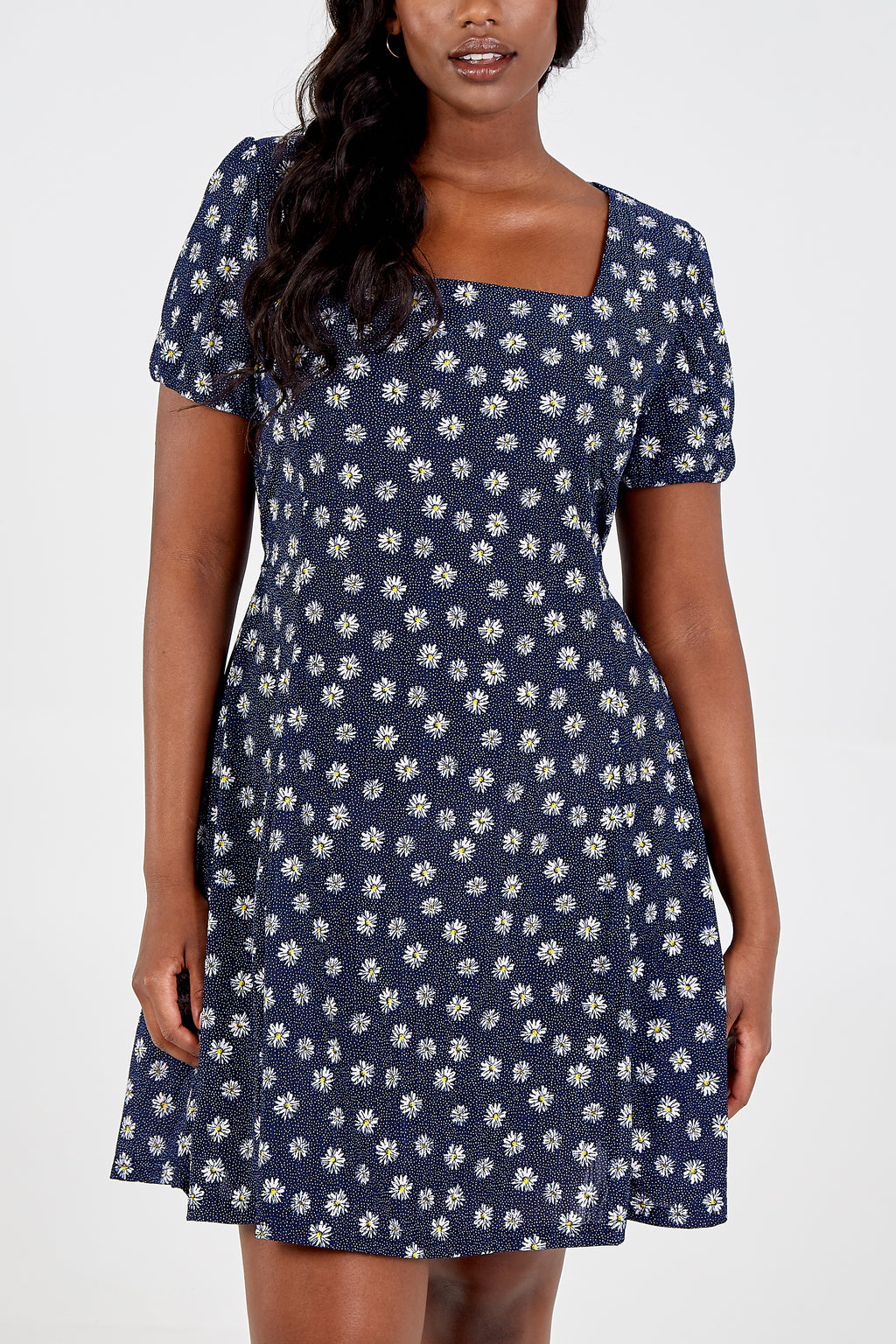 Curve - Puff Sleeve Fit & Flare Dress