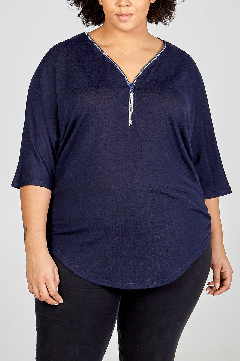 Curve - Diamante Zip Front Top