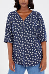 Curve - Daisy Print Zip Front Top