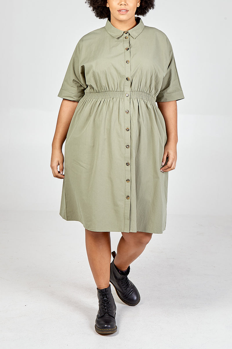 Curve - Shirred Waist Batwing Shirt Dress