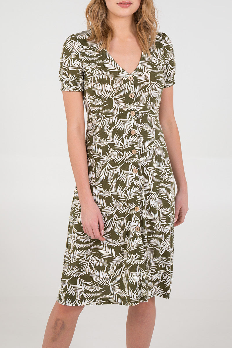 Leaf Print Button Front Tea Dress