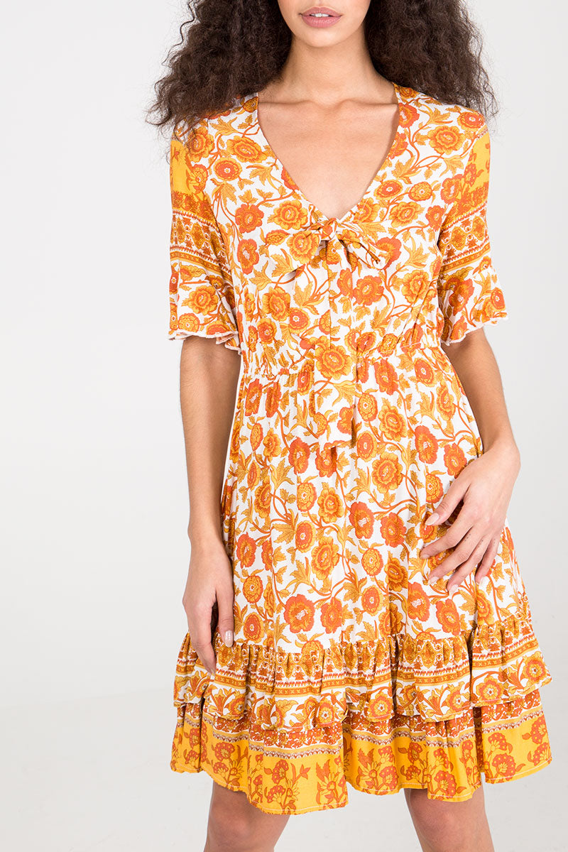 Printed Knot Front Dress