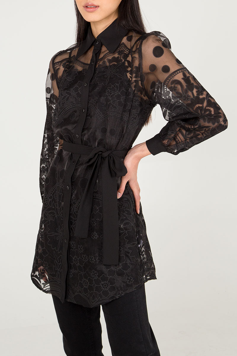 Lace Sheer Shirt Dress