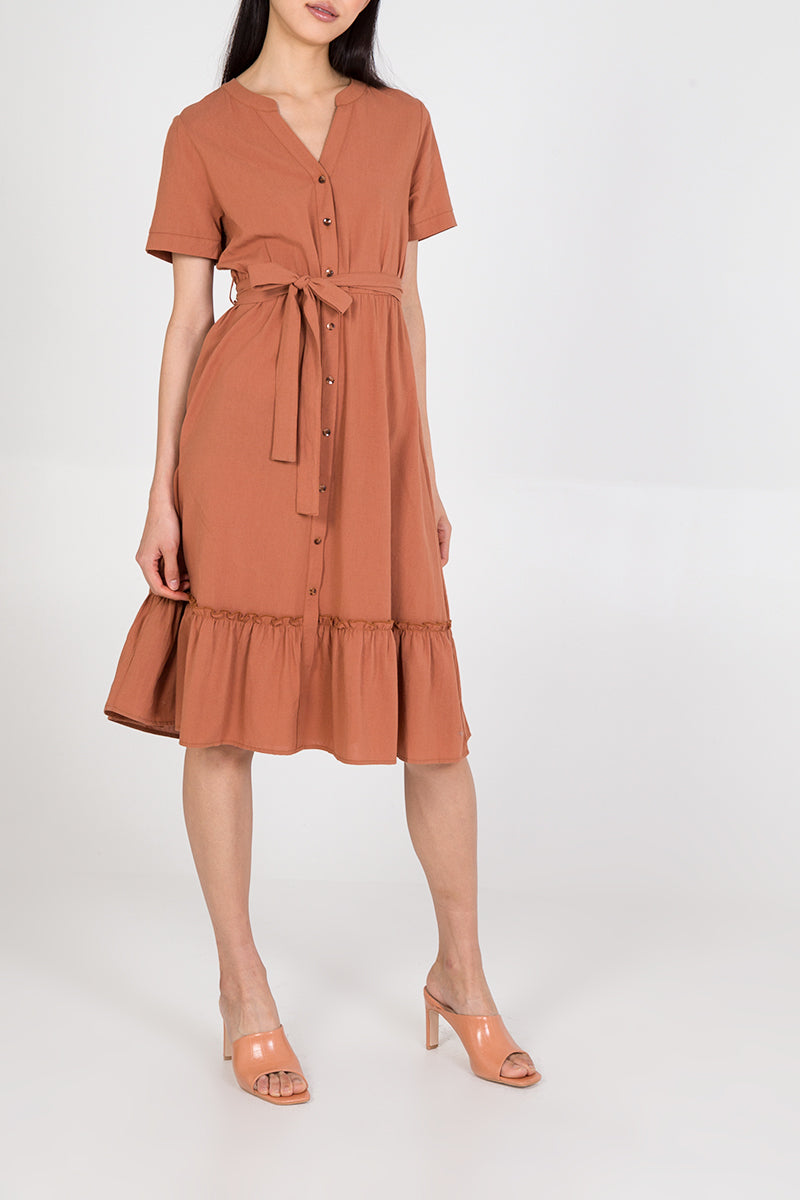Tiered Hem Button Through Midi Dress