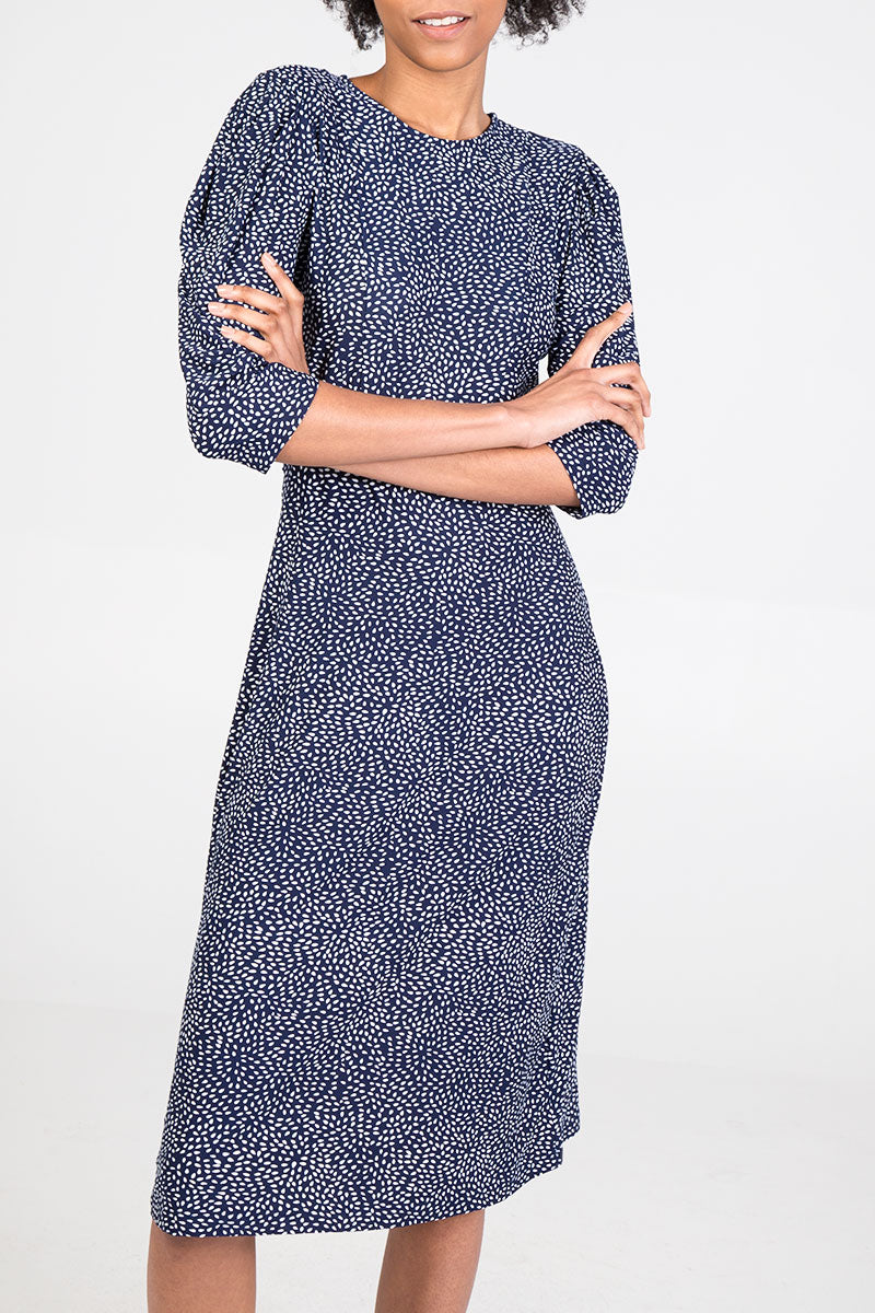 Mutton Sleeve Printed Midi Dress