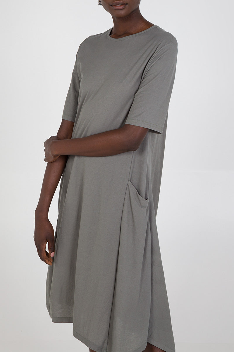 Asymmetric Hem Two Pocket T-Shrit Dress