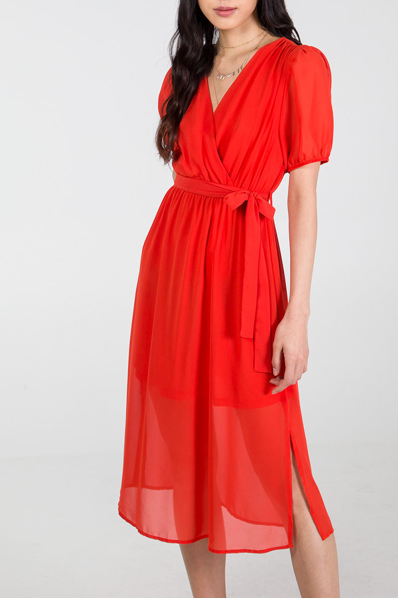 Puff Sleeve Wrap Front Midi Dress