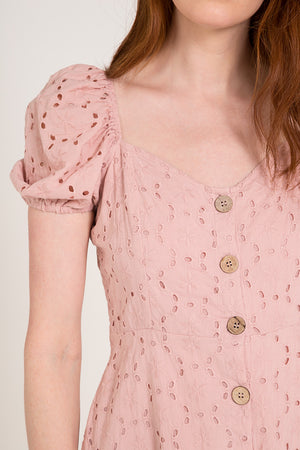 Broderie Anglaise Button Front Dress