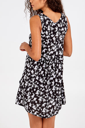 Sleeveless Gathered Front Swing Dress