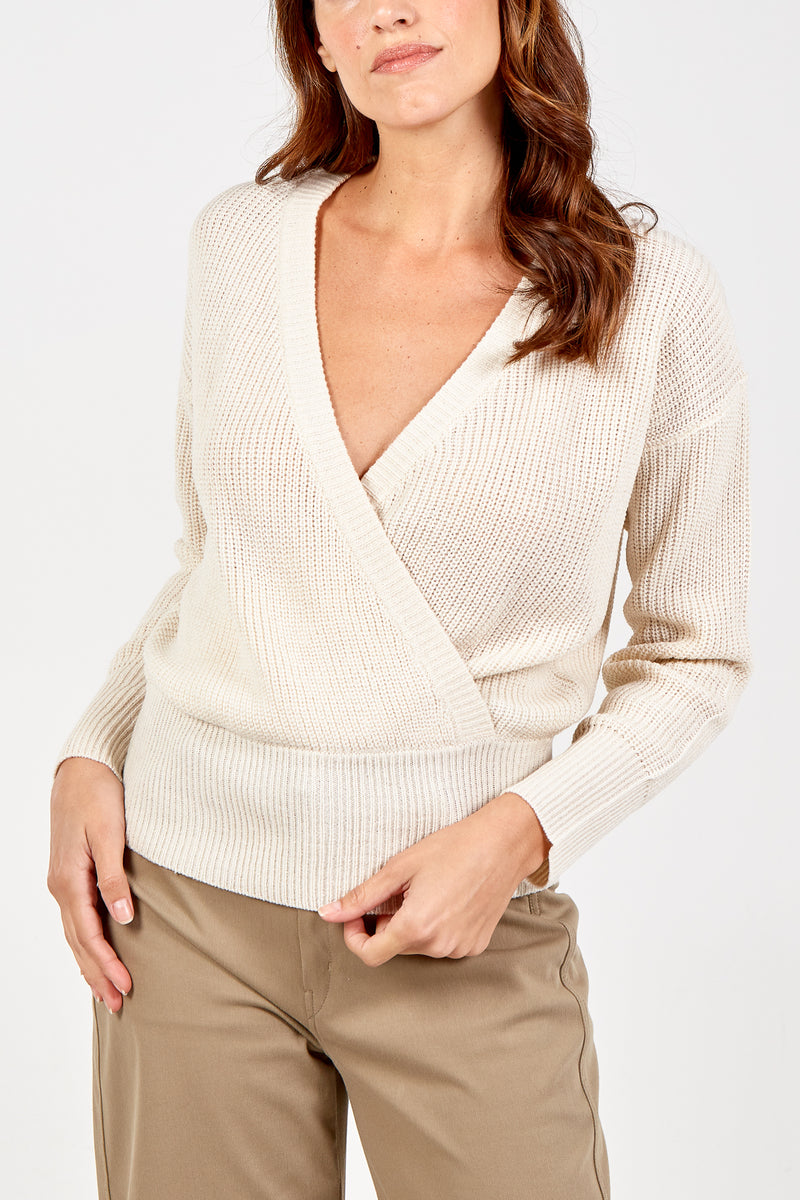 Cross Front V-Neck Jumper
