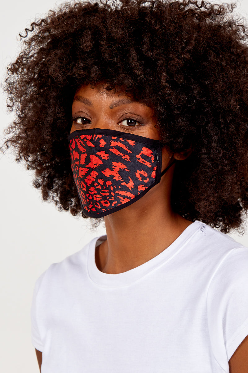 Red & Black Leopard Print Fashion Mask