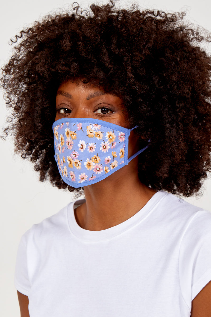 Cornflower Blue Floral Fashion Mask