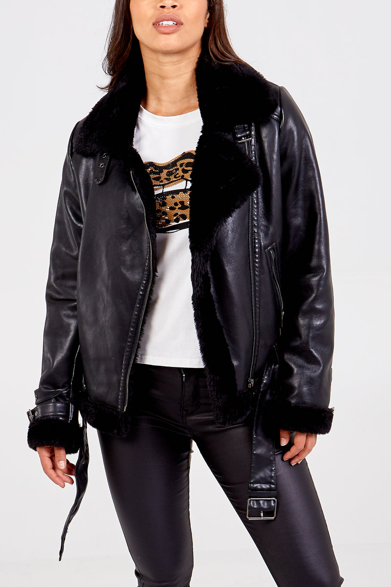 PU Faux Fur Trim Aviator Jacket