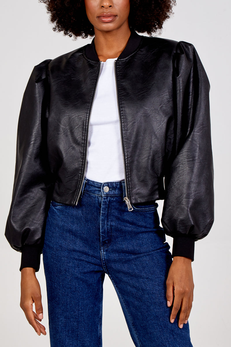 PU Cropped Bomber Jacket