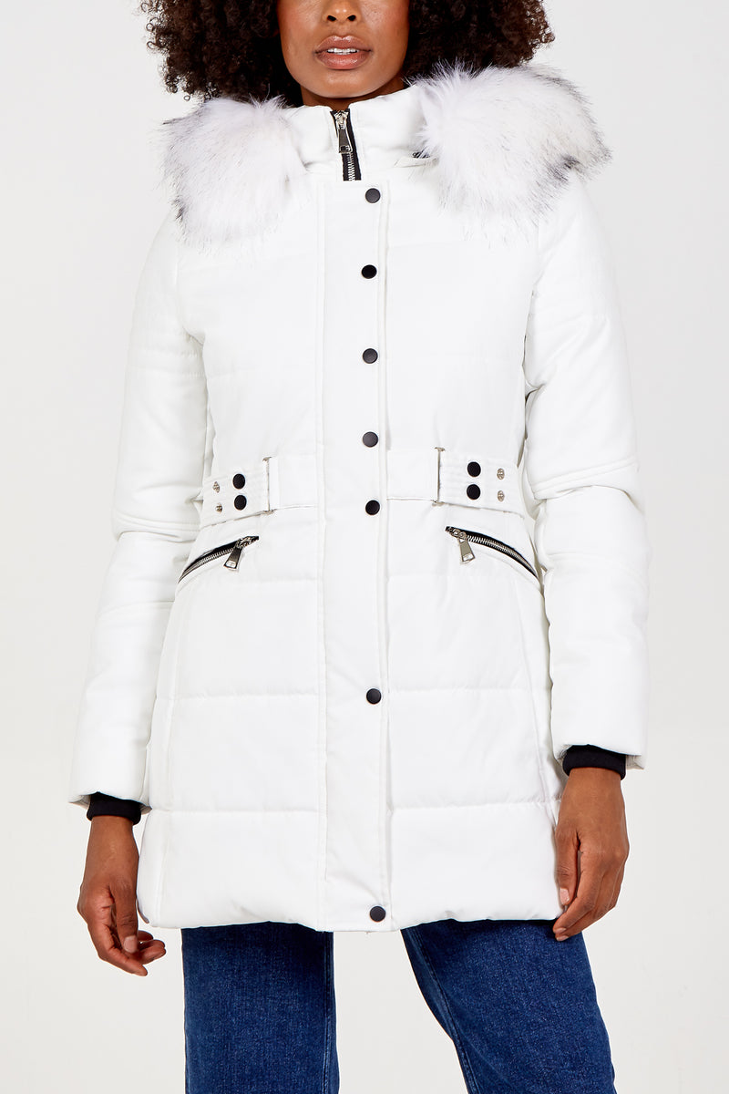 Belt Detail Faux Fur Hood Puffer Coat