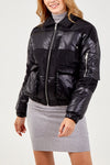 Quilted Puffer Jacket With PU