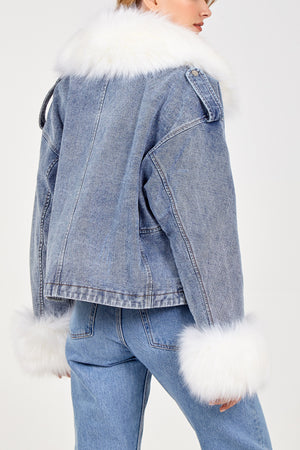 Faux Fur Trim Denim Jacket