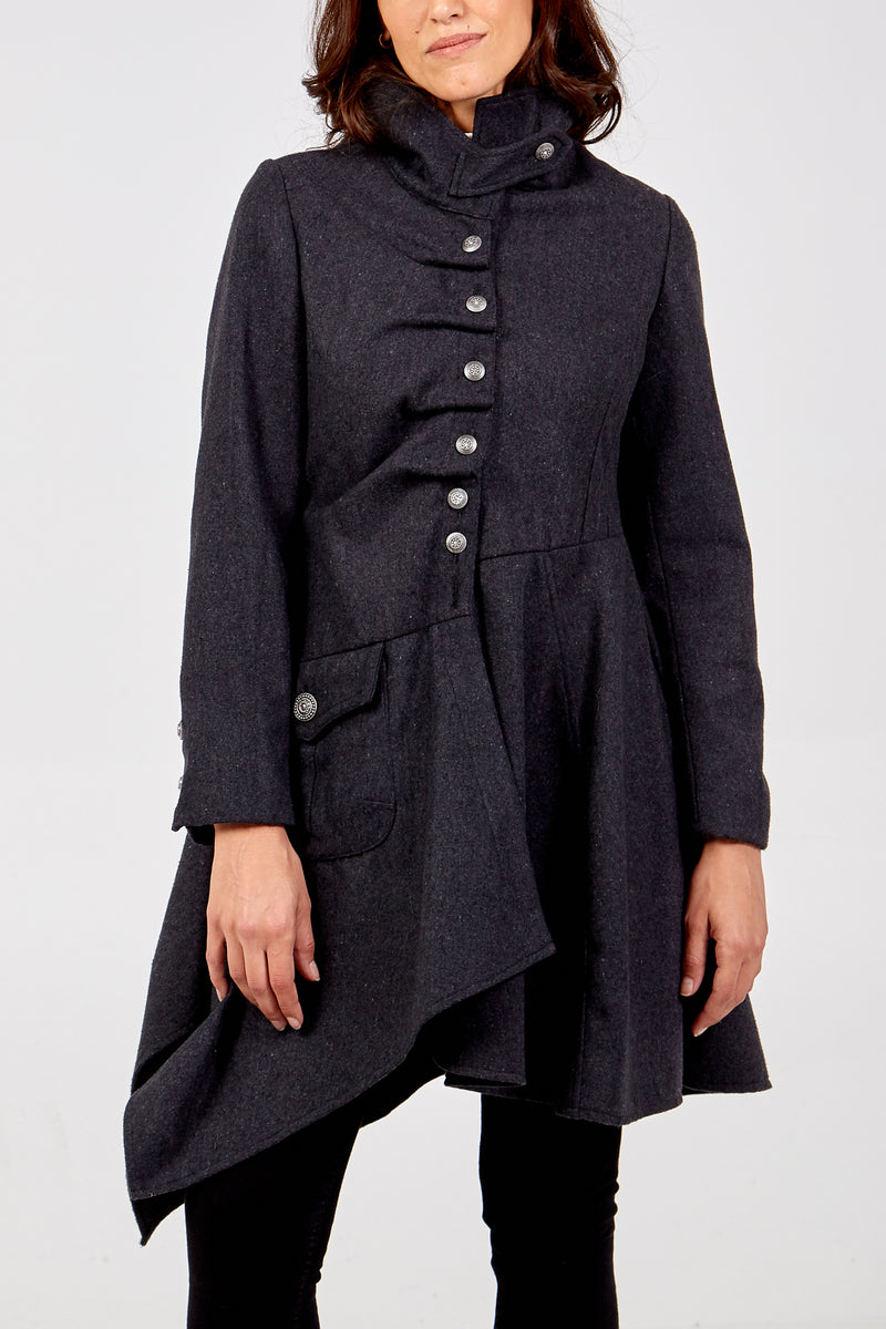Waterfall Long Coat with Frill Front Buttons