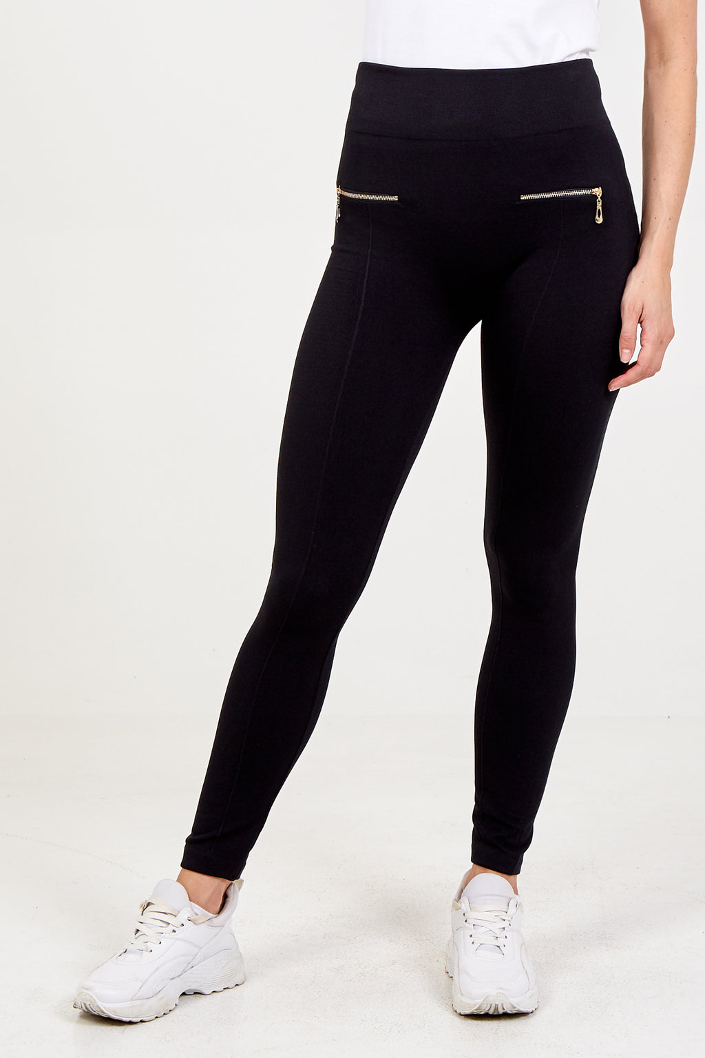 Fleeced Leggings With Gold Front Zip Pockets