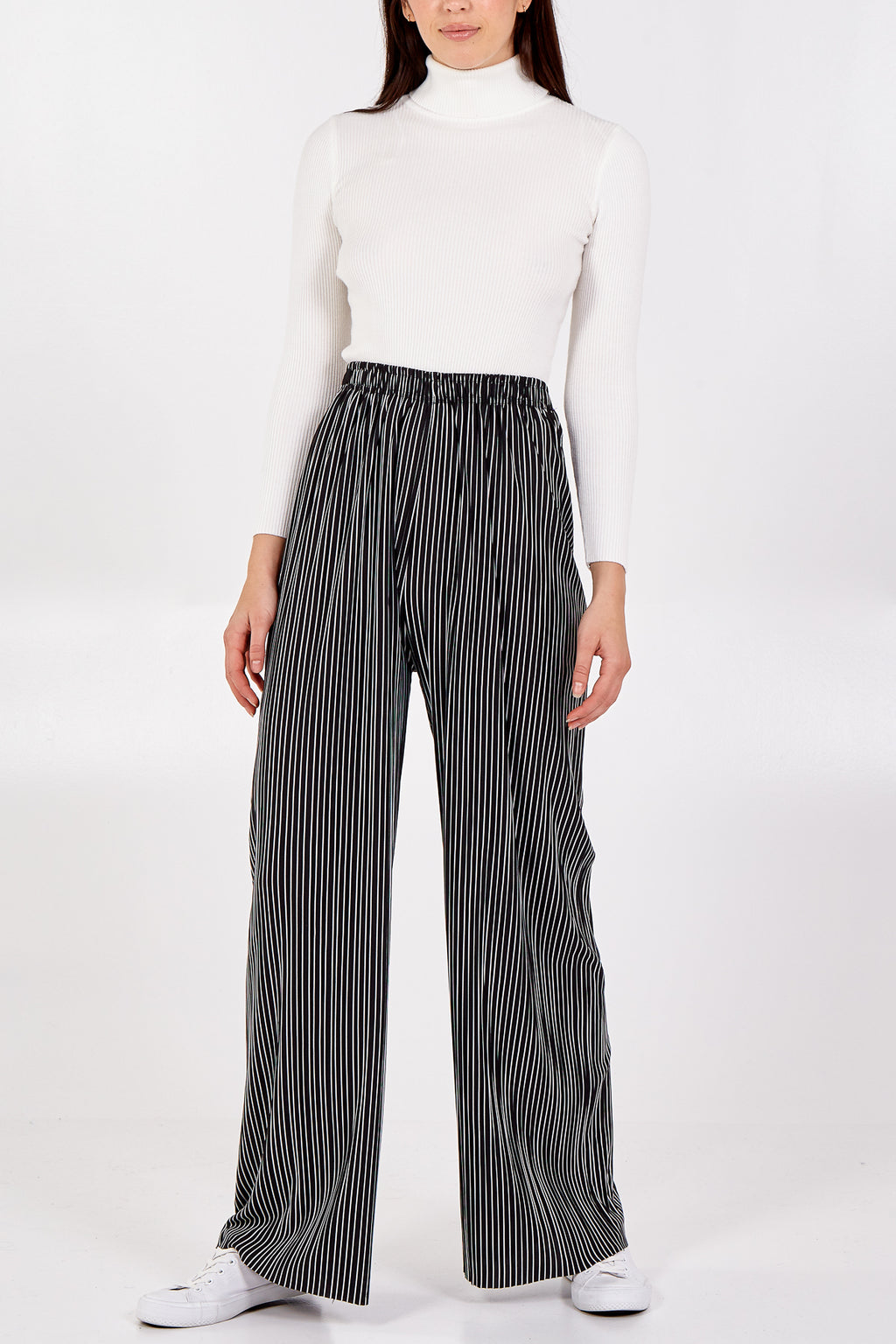 Black/White Stripe Wide Leg Trouser