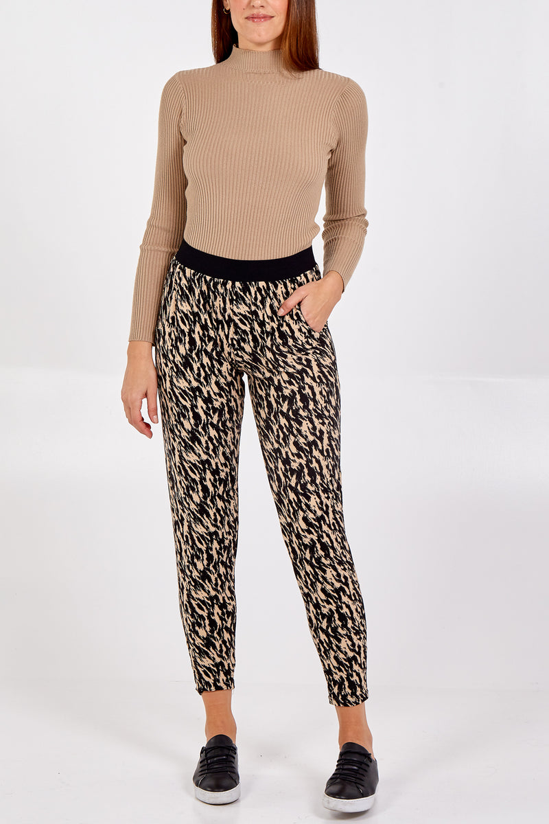 Sketchy Animal Print Elasticated Jogger