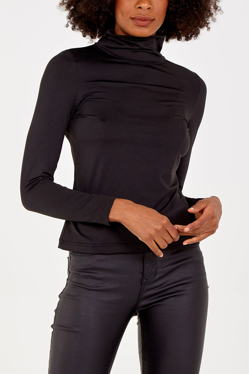 Fleece Lined Roll Neck Top