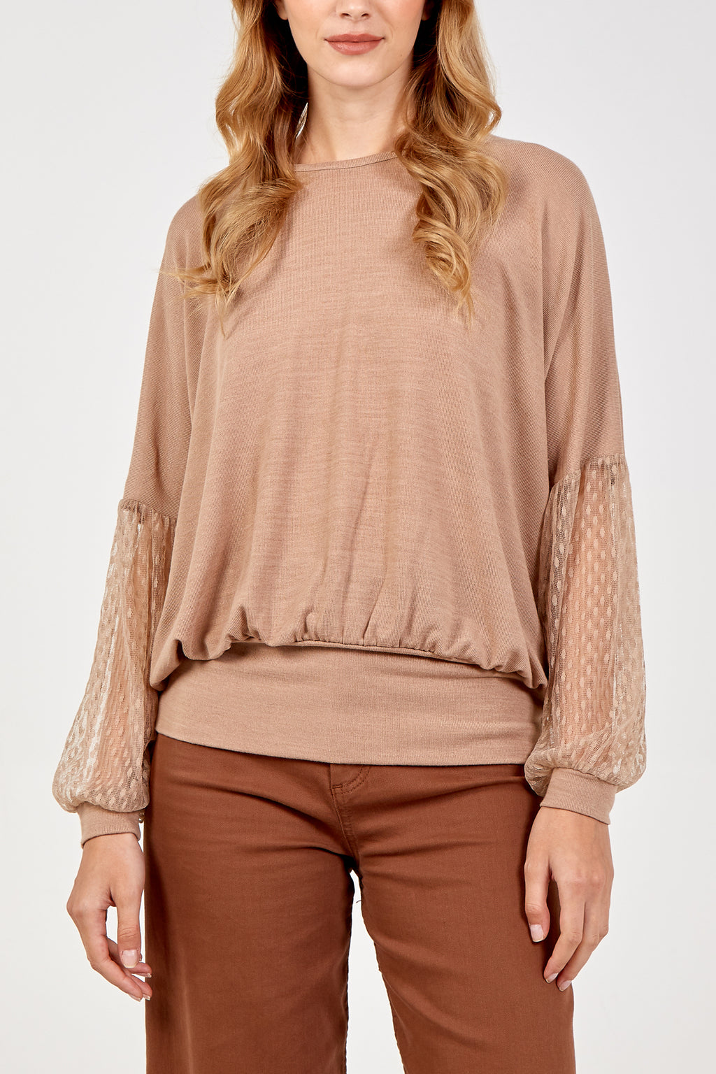 Mix Fabric Batwing Top