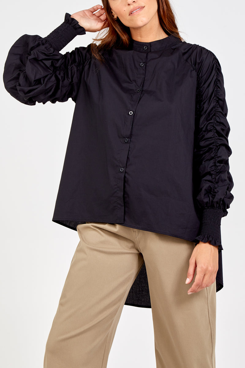 Gather Sleeve Buttoned High Low Shirt