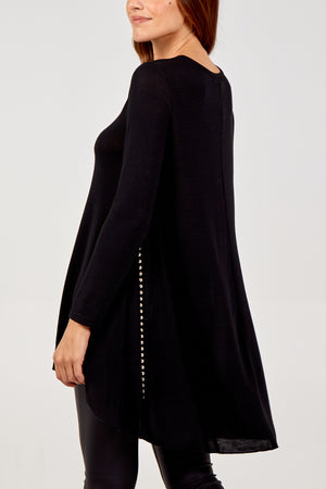Dipped Hem Tunic With Sheer Panel