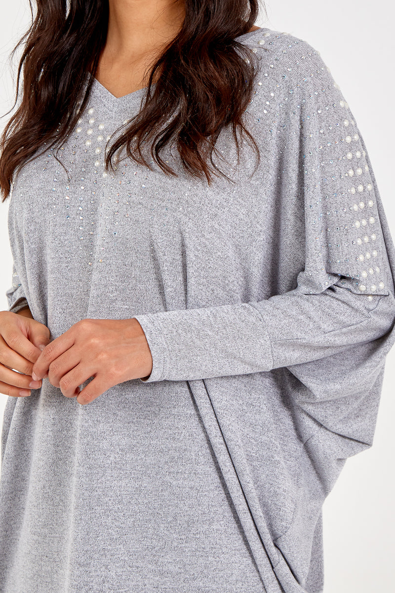 Embellished Long Sleeve Batwing Top