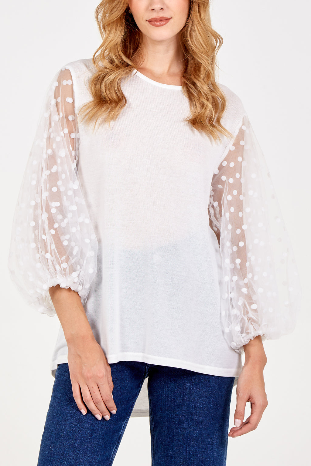 Oversized Mesh Sleeve Top