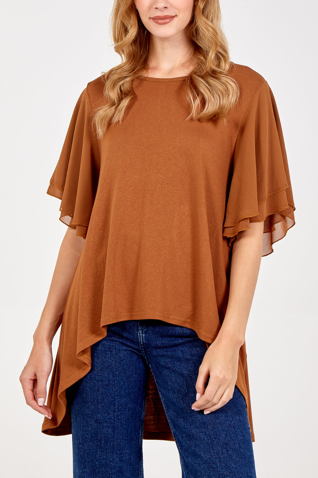 Frill Sleeve High Low Top