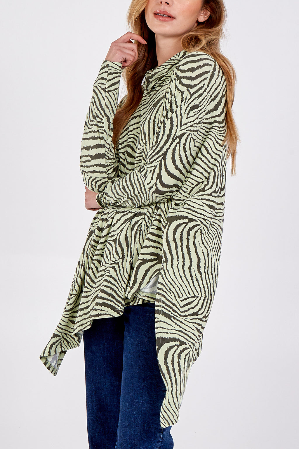 Abstract Zebra Oversized Cowl Neck Top