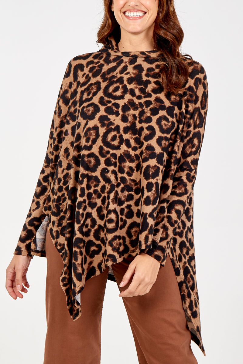 Animal Print Cowl Neck Asymmetric Tunic