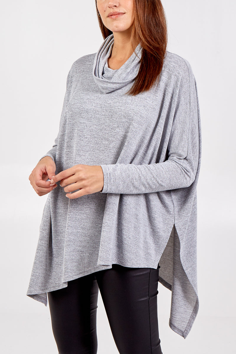 Double Asymmetric Cowl Neck Top