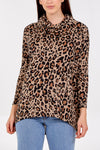 Leopard Print Roll Neck Batwing Top