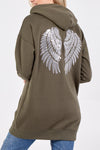 Sequin Wings Longline Zip Hoody