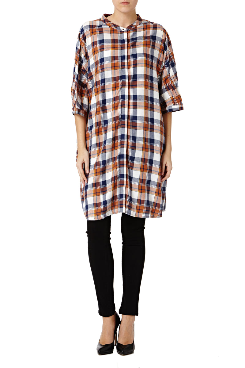 Supersized Check Grandad Shirt