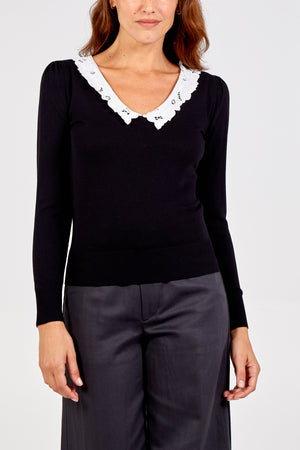 Lace Collar V-Neck