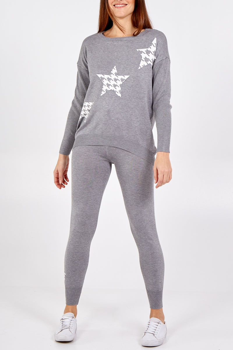 Hounds Tooth Star Jumper & Jogger Set