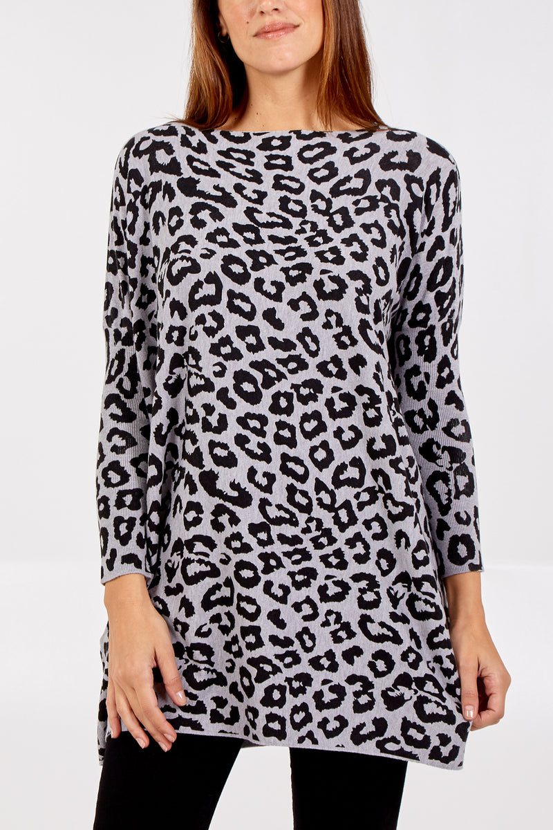 Leopard Print Long Sleeve Batwing Jumper