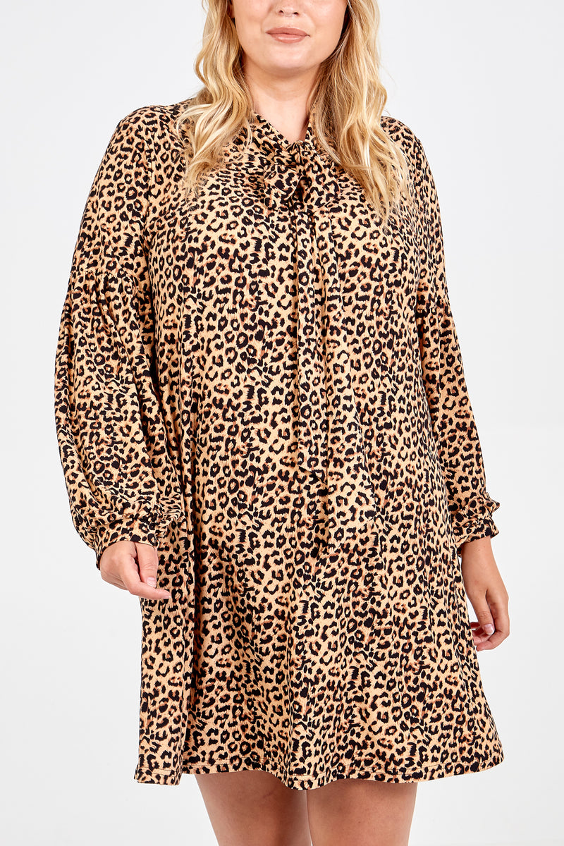 Curve Pussy Bow Leopard Print Swing Dress