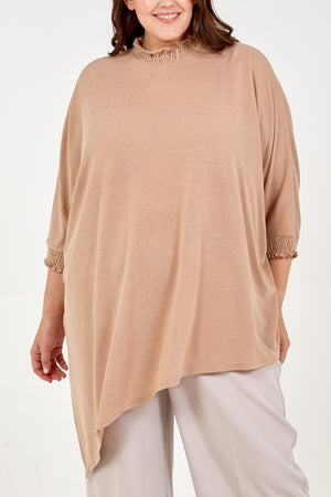 Curve Asymmetric Top With Shirred Collar